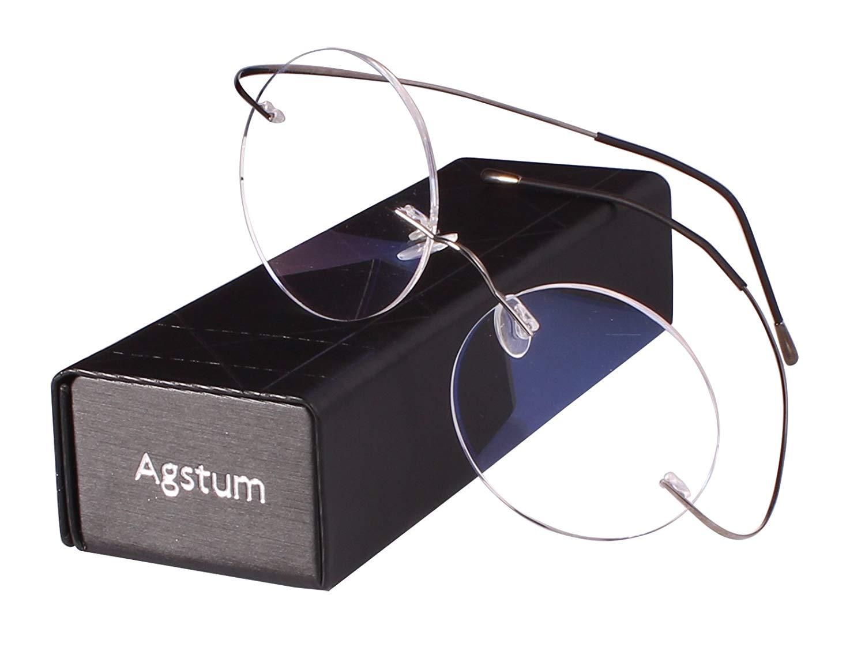 76a15e2c363 Get Quotations · Agstum Pure Titanium Round Prescription Rimless Glasses  Frame 46mm