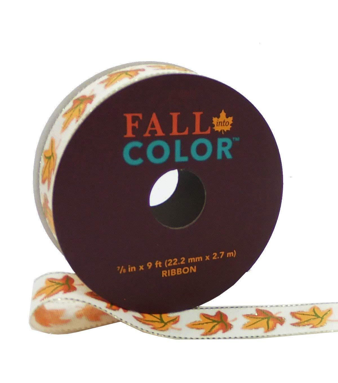 Maker's Halloween Ribbon 7/8'' x 9' Orange Maple on Ivory