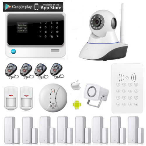 Iphone android phone control low cost home wifi wireless alarm system with IP camera