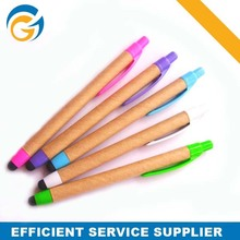 Colorful Clip Recycled Paper Eco Pen Wooden Pens with Logo