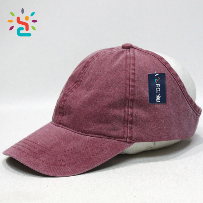 Custom distressed denim baseball cap fishing outdoor running ponytail  cotton snapback sports hat 756ad23419dd