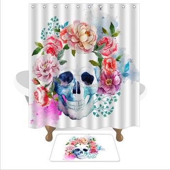 Waterproof Flower Skull Digital Printing 72 X 42 Shower Curtain