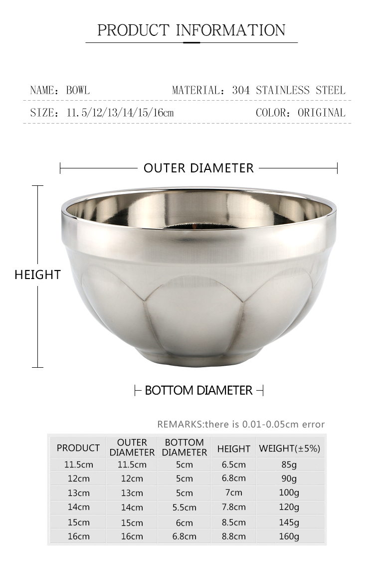 High quality stainless steel kids soup bowl rice bowl for sale