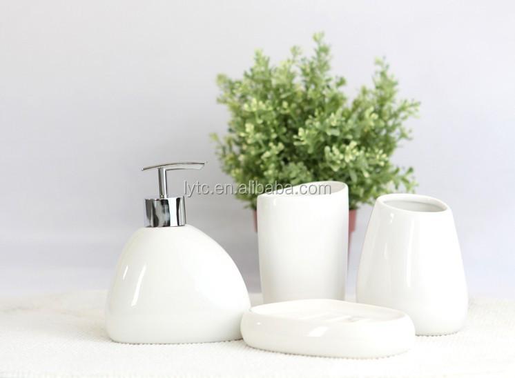 Hot sale white ceramic bathroom set bathroom accessories for Bathroom sets on sale