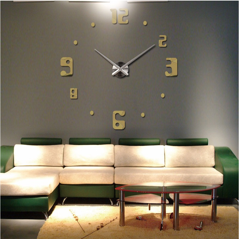 2016 new big wall clock living room quartz Metal modern ...