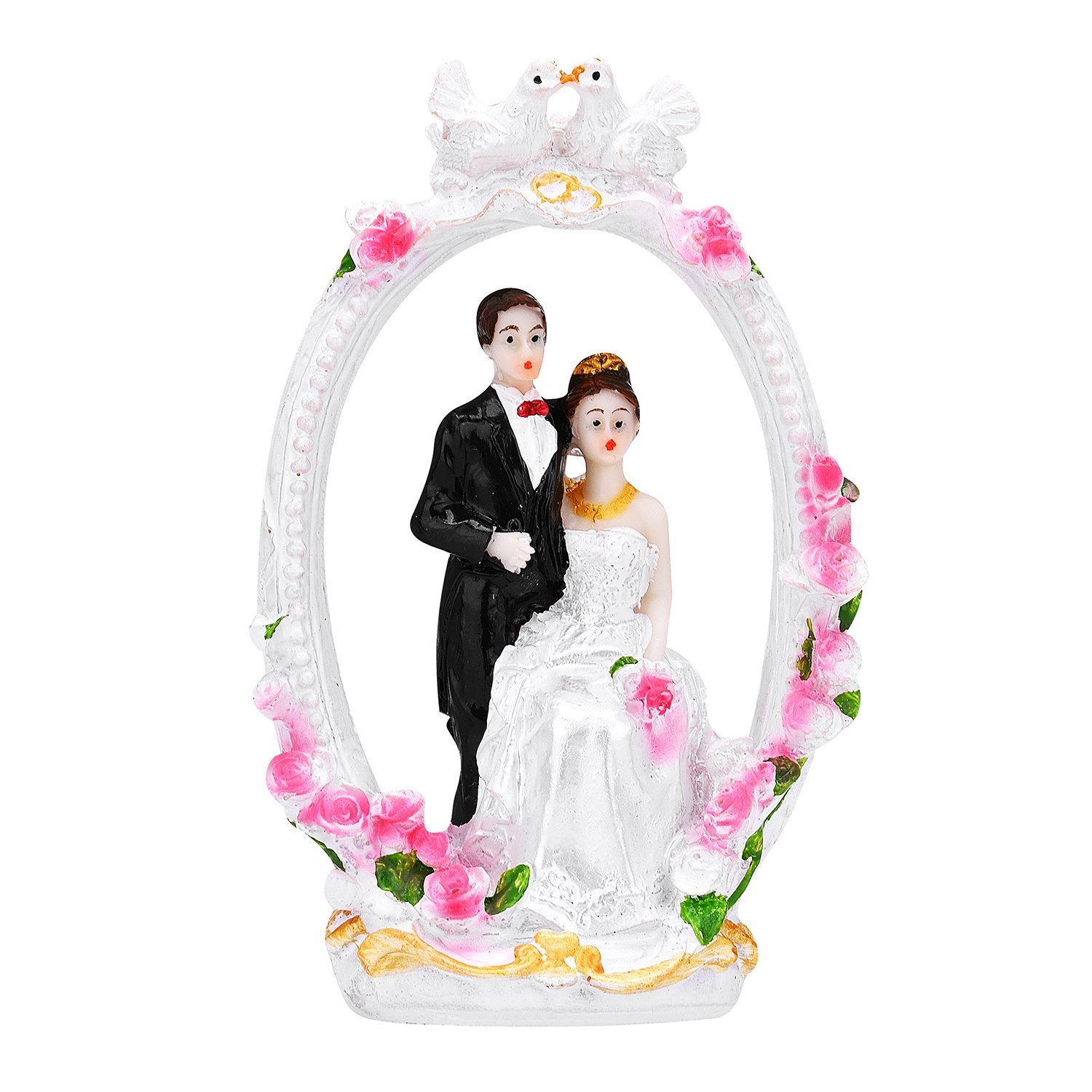 TtoyouU Wedding Couple Cake Topper Bride and Groom Cake Topper Couple Figurine-Birds and Wreath