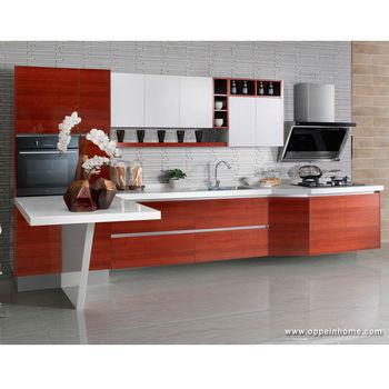 Oppein Rojo Moderno Melamina Color Contraste Gabinete De Cocina Para ...