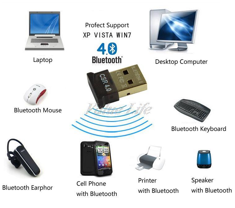 Мини USB Bluetooh 4.0 адаптер ключ, V4.0 двухрежимного беспроводного адаптироваться, 20 - 50 м, 3 Мбит, бесплатная доставка
