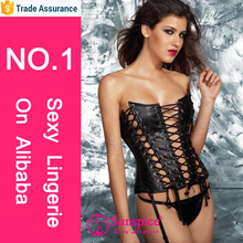Hottest selling Vinyl full lace up corset Boning lace up front and backDetachable garters
