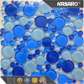 Decorative Gl Pebbles Mosaic Blue River Pebble Tile