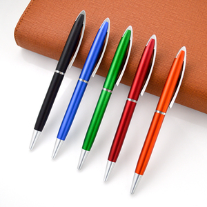 Metallic color black blue green red orange plastic ball pen with oem logo.