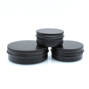 free samples aluminum jar 5g 10g 15g 30g 50g 60g 80g 100g 150g black aluminum tin with black screw lid