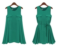 Europe and America latest design round-neck sleeveless joker women skirt elegant chiffon slim fashion lady dress