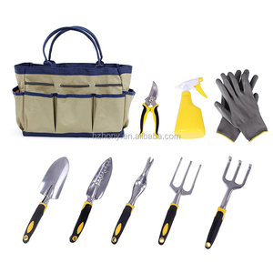 9 Piece Garden Tool Set Includes Garden Tote and 6 Hand Tools Heavy Duty Cast-aluminum Heads Ergonomic Handles