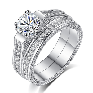 Newest Unique Design Fashion Couple Diamond Jewelry Rings White Gold AAA+ CZ Zircon Luxury Fancy Men Wedding Ring Set