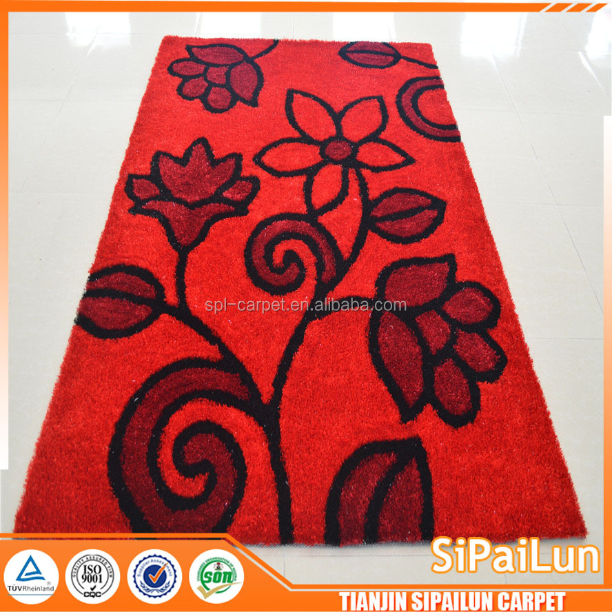 Red flower pattern customerized fabric flooring carpets by Tianjin carpets suppliers