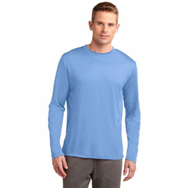 2020 Wholesale MoistureWicking Dry Fit 100% Polyester T-shirt Custom Slim Fit Long Sleeve Men's Sports Shirt