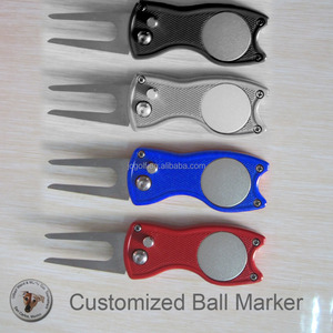 customized ball marker high quality retractable switchblade zinc alloy golf green repair divot tool