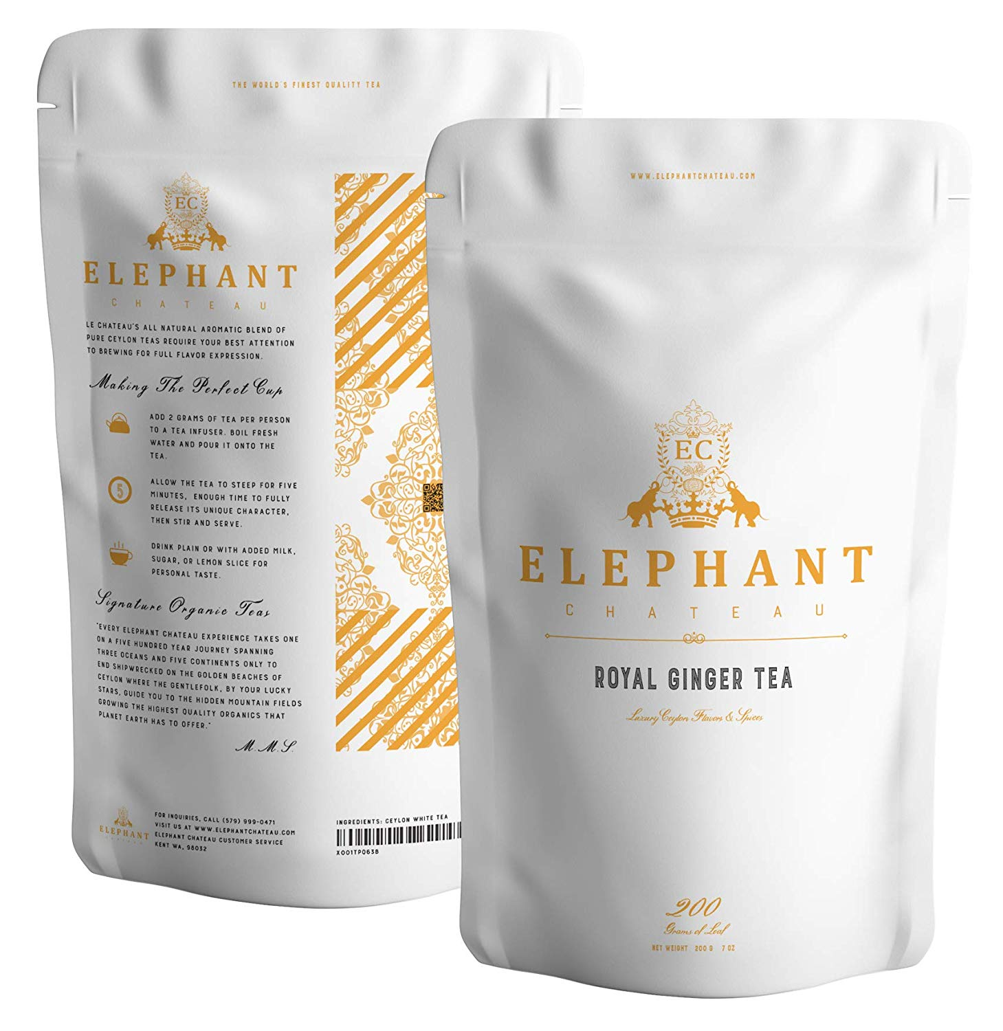Royal Ginger Tea (High Grade Ceylon Ginger) | 50 Pyramid Sachets | Organic Certified | Elephant Chateau | No Artificial Flavors