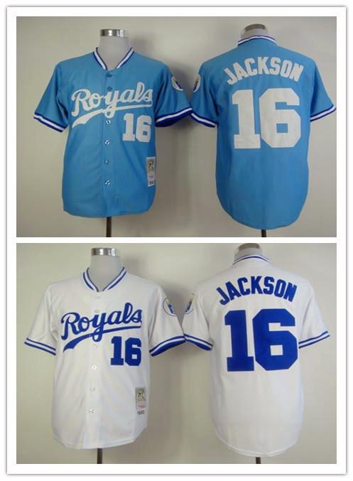 d7ce80fa808 ... coupon code stitched mlb jersey retro version kansas city royals jersey  16 bo jackson baseball jerseys france mens mitchell and ness ...