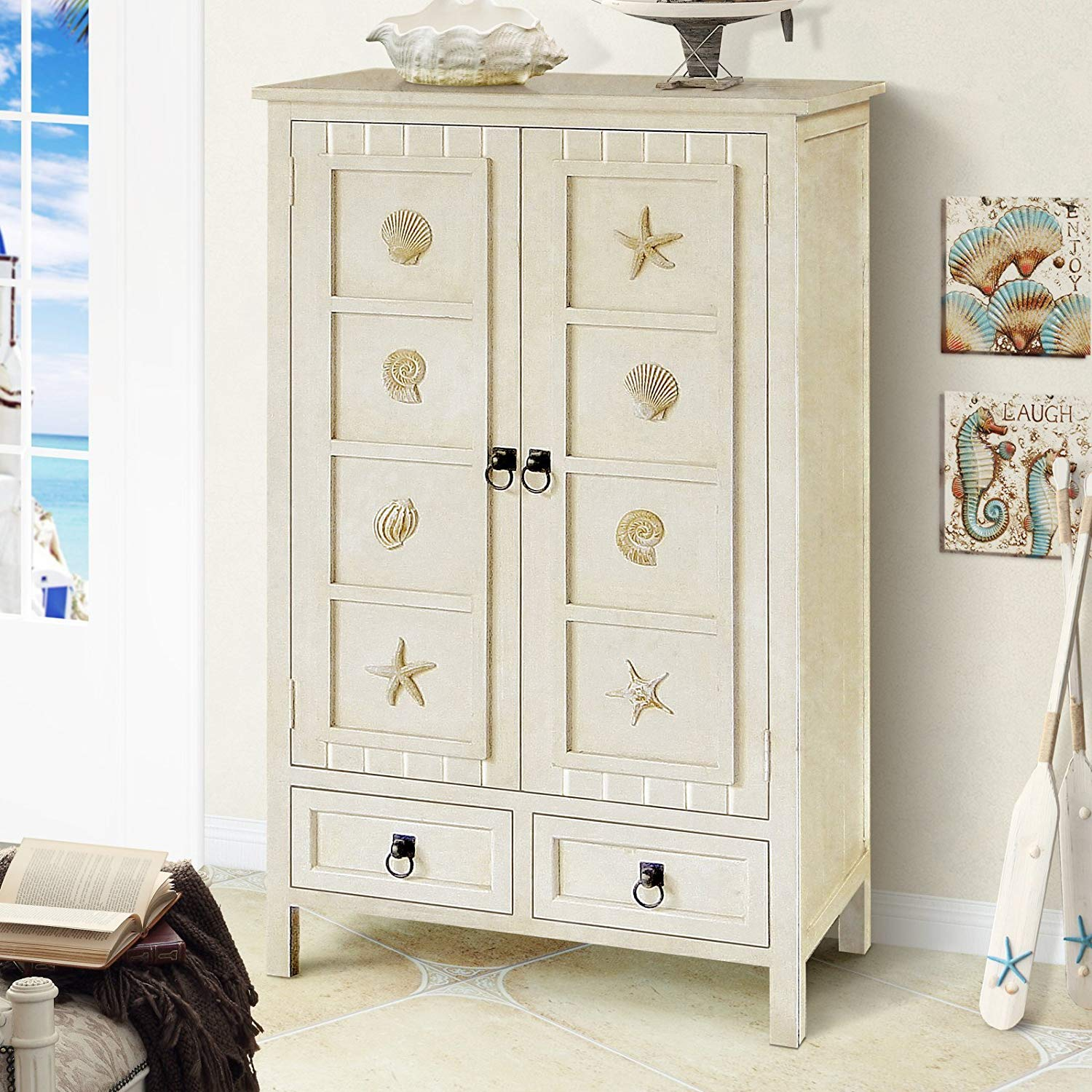 2 Drawer Chest, Sturdy Hardwood Frame Promises Natural Charm and Durability, Features Two Doors and Two Drawers, Interior Shelving Provides Organizational Flexibility, White + Expert Guide