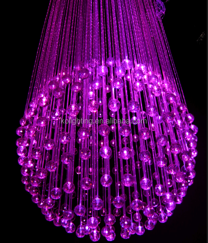 Multicolor round crystal ball chandelier led optical fiber modern cheap crystal chandelier