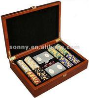 Wooden custom poker chip set