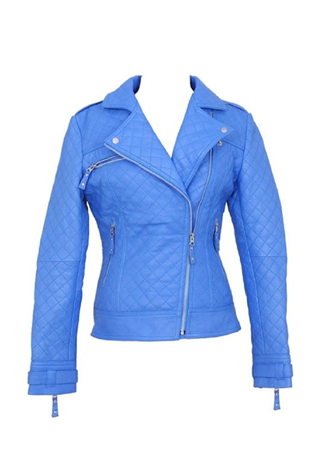 Bestzo Women's Fashion Jacket Lamb Leather Blue L