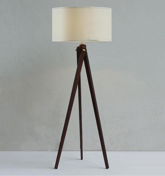 Natural Wood Handmade Modern Tripod wooden Floor lamp with cloth shade - Natural Wood Handmade Modern Tripod Wooden Floor Lamp With Cloth