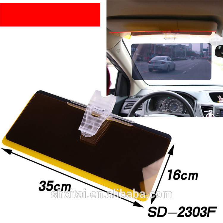 Hot sale xitai car accessories 2 in 1 safety see-through anti glare car sun visor shade shield with best quality art.-no.w167
