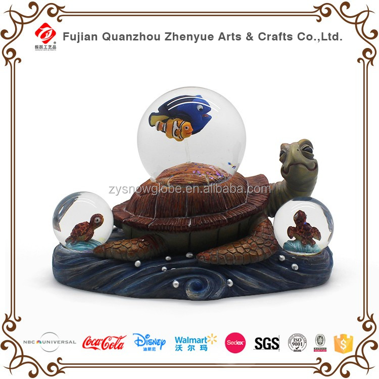Custom Cartoon character Resin Glass Snow Globe,Small Fish and Turtle Decoration Water ball