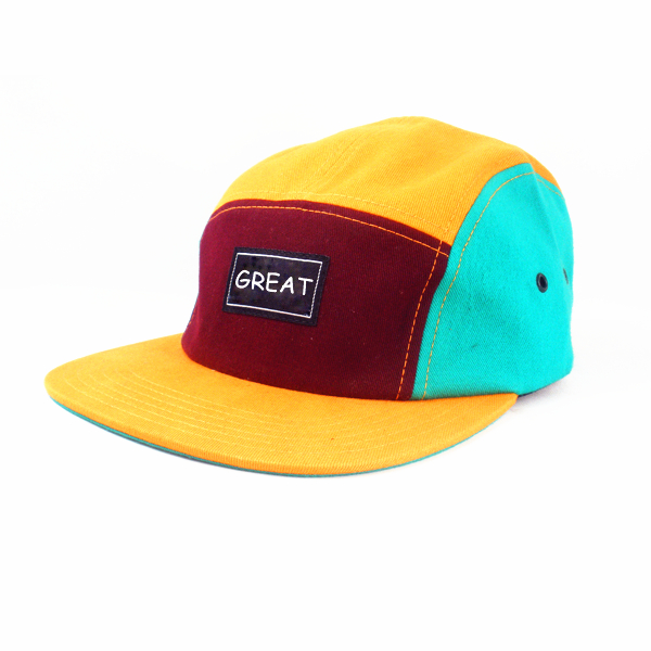 Costom iconic streetwear gear campings five panel flat brim hat