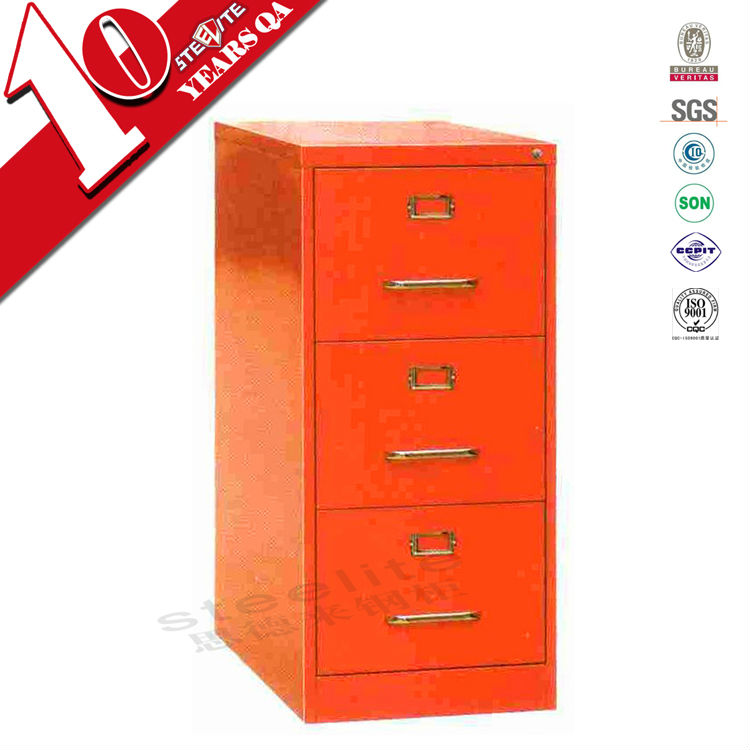 Sous le bureau rouge brillant métallique verticale 3 tiroir coloré ...