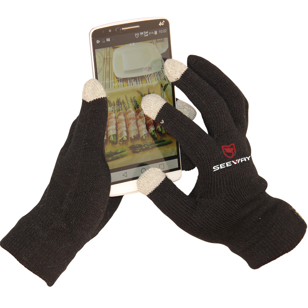 Seeway 13 Gauge Acrylic Knitted Cell Phone Winter Touch Screen Gloves With Napping Liner