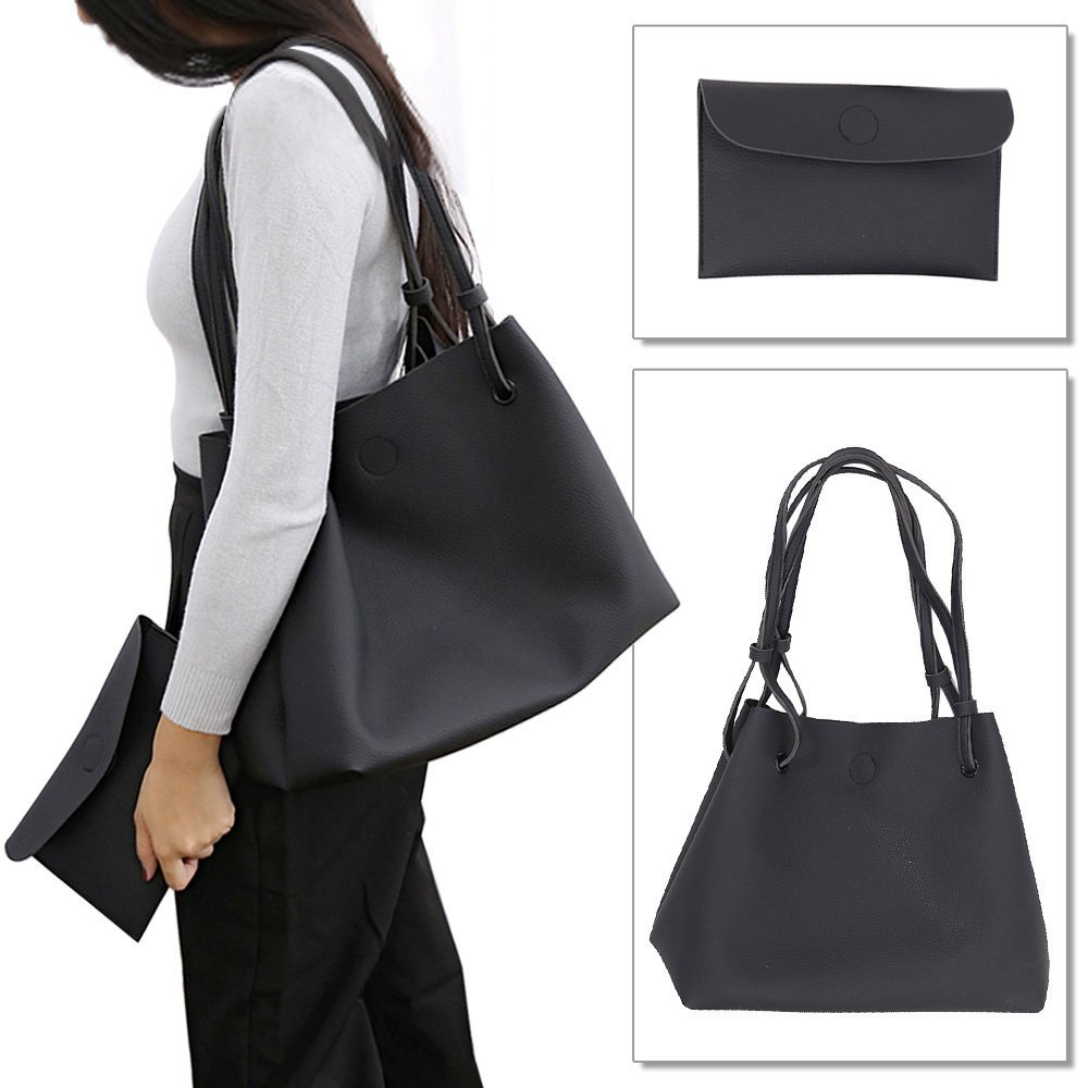 Cinidy Women's Handbags Purse Tote Bags Female 2 Pcs Shoulder Bags Top-Handle Handbag PU Leather Set