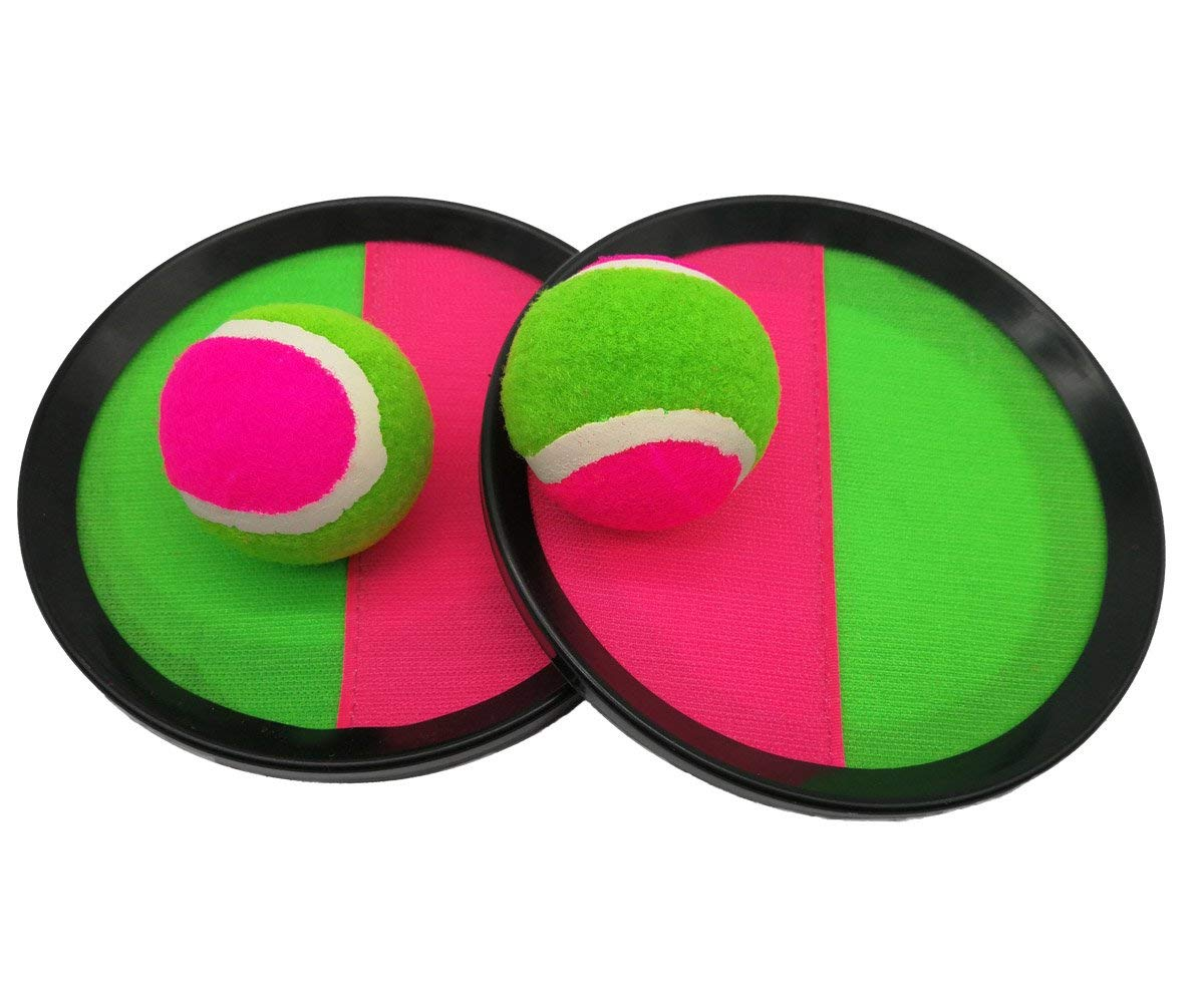 "Sport Ball - Paddle Catch and Toss 3000 Ball Game with Disc Paddles - 7.75"" Handheld Stick Disc,2 Balls, Pink and Green"