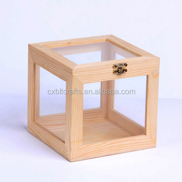 clear glass window wooden gift packing display box