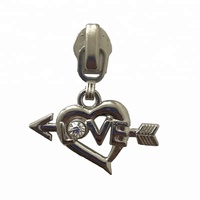 wholesale heart design zipper puller custom zip puller logo