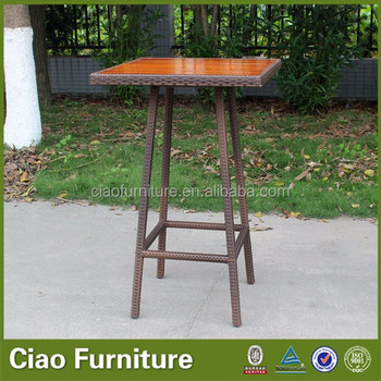 Outdoor High Bar Table With Teak Wood Top Buy High Bar Table - Teak high top table
