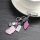 Fashion couple keychain car key ring metal glasses lips lipstick bag key fob