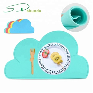 High Quality Dish Bowl Plates dining table Mats heat resistant Waterproof Baby Cloud Shaped Silicone Rubber Placemat
