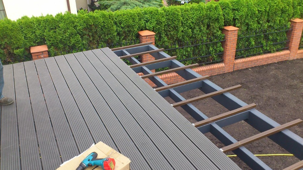 New products 2016 wpc wood plastic composite decking buy for Wpc decking