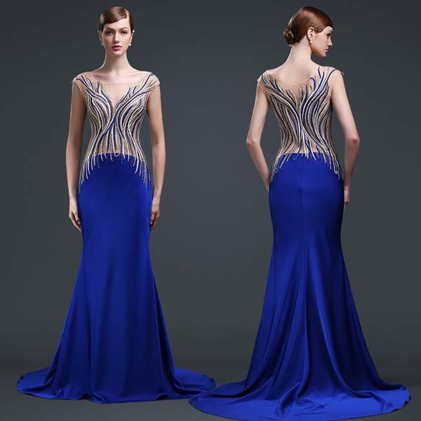 Dark Blue Pop Line Beaded Robe Soiree Lycra Evening Dresses Turkey