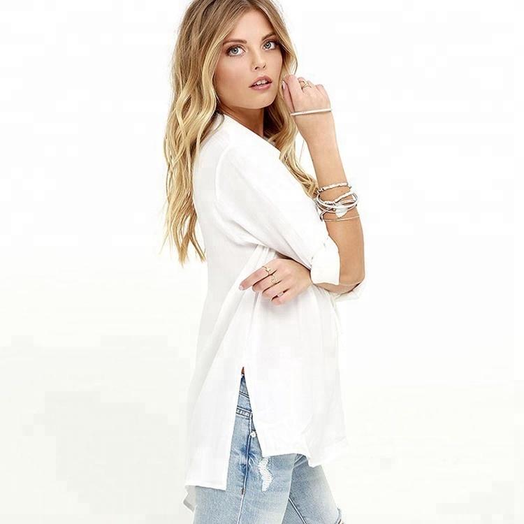 Nueva moda cuello en v Mujer camisas y blusas