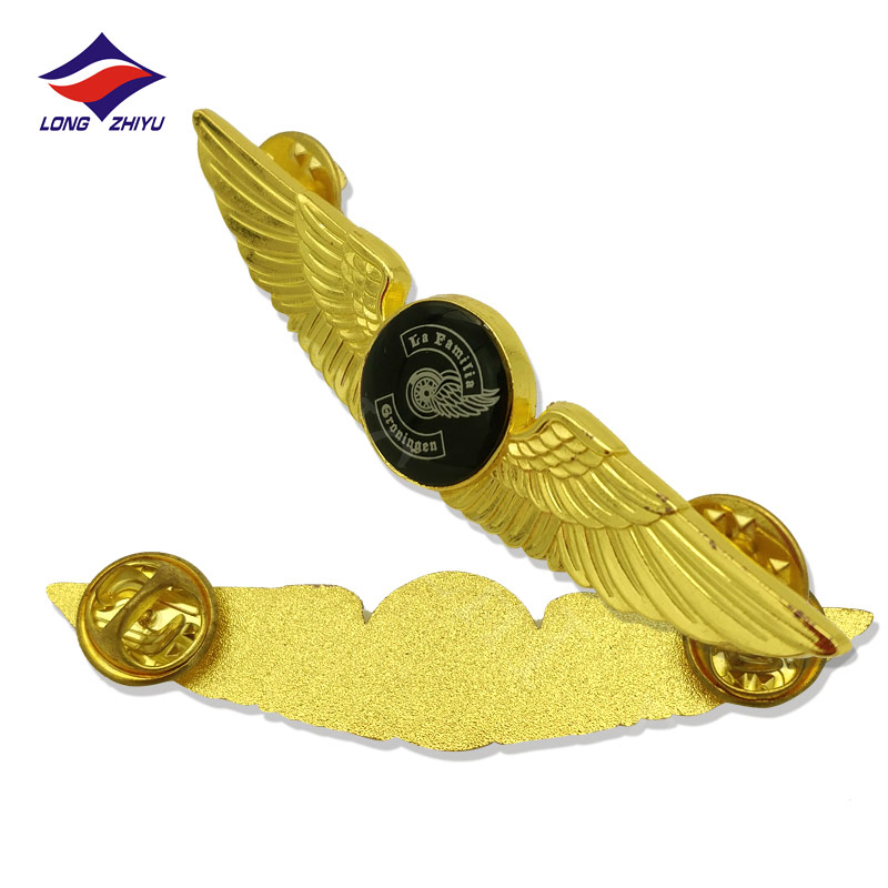 ongzhiyu 12 Years Manufacturer High Quality <strong>Custom</strong> 2D Metal Wing Lapel Pin With Butterfly Clutch Gold Plated Badge Best Producer