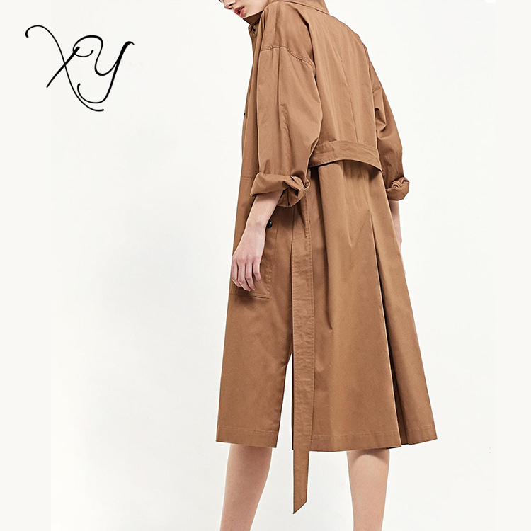 cdff7cb40c5 2018 Classical Custom Ladies Fashion Brown Cotton Clothes Long Women Trench  Coat