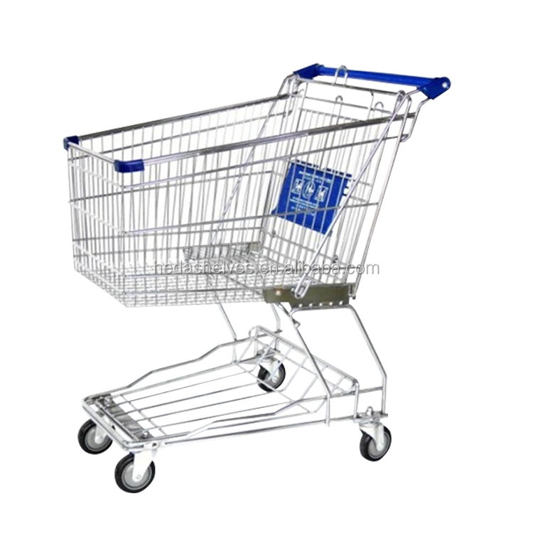 Hot Sale American Style Multifunctional Customizable Stainless Steel Basket Rolling Shopping Cart
