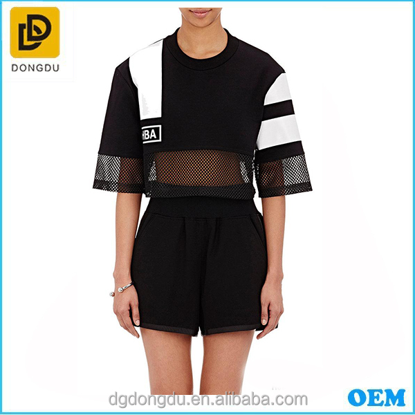 China manufacturer wholesales mesh crop tops lady European style tops