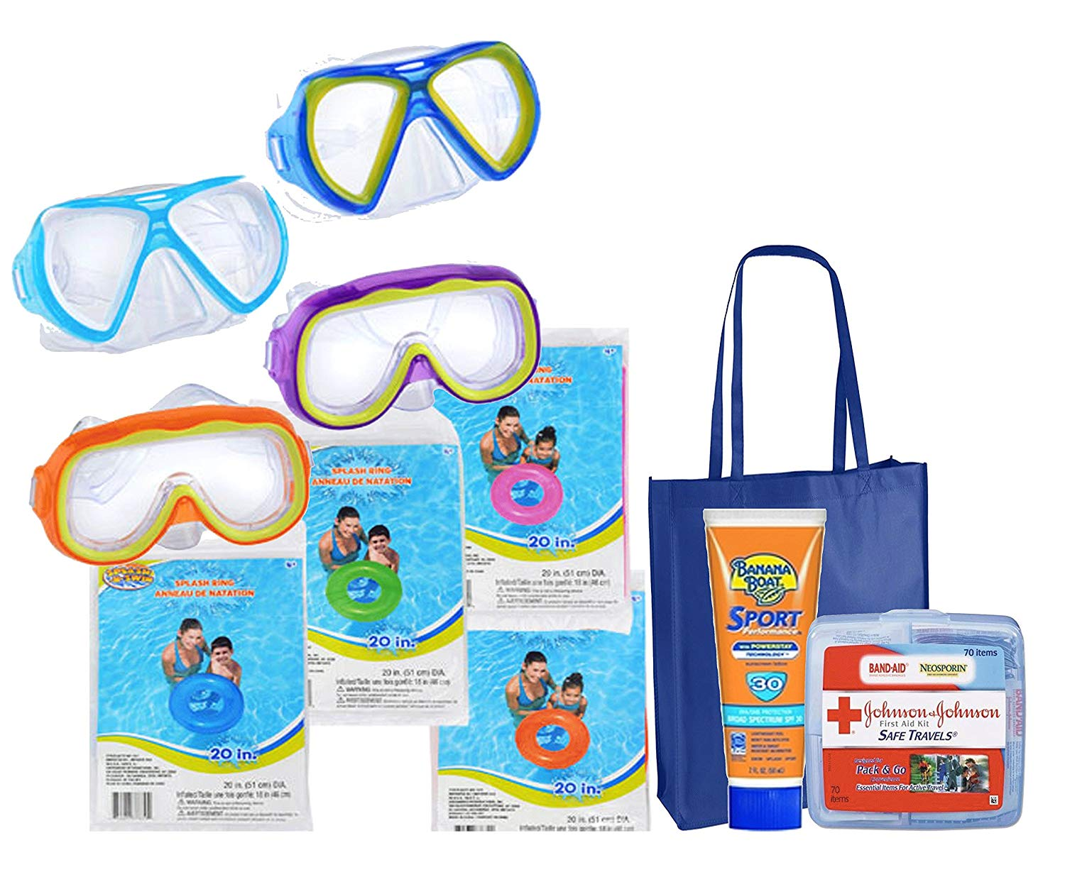 "Summer Pool Party Toy Assortment! Splash-N-Swim Child-Sized Swim Masks Goggles & Inflatable Swim Rings! Plus Bonus ""Safety First"" Summer Essentials Pack!"