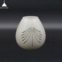 Modern Mouth blown flower carved white color lamp shade/oapl glass lampcover/ glass ball lamp globe for hanging light table ligh
